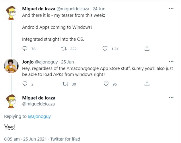 Android Sideload Support Windows 11 Official Tweet