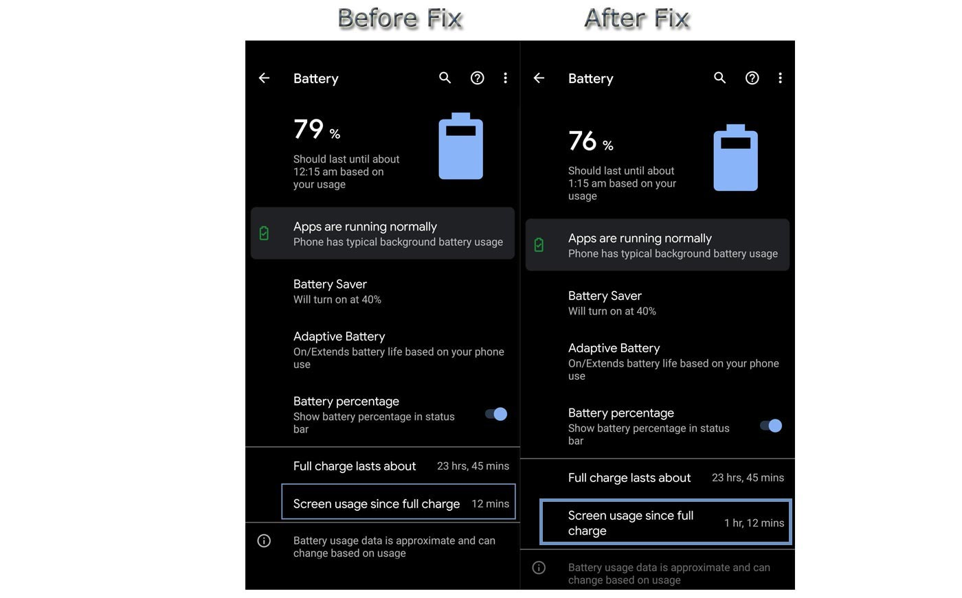 Google Messages Battery Issue Before and After Fix