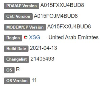 Samsung Galaxy A01 Android 11 Firmware Details