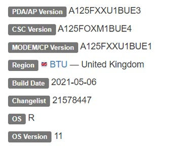 Samsung Galaxy A12 Android 11 Firmware Details