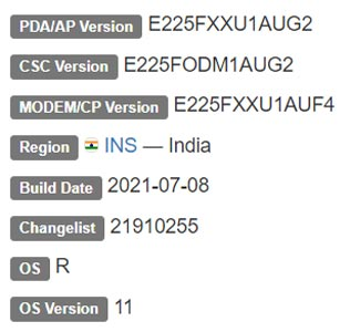 Samsung Galaxy F22 Android 11 Firmware Details