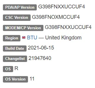 Samsung Galaxy XCover 4s Android 11 Firmware Details