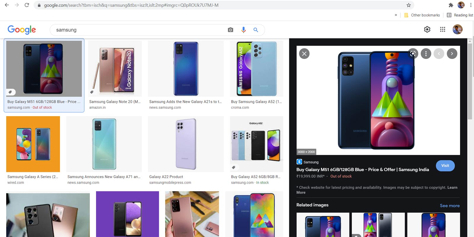 Image Size Custom Search in Google Images