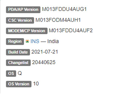 Samsung Galaxy M01 Core android 10 frimware details